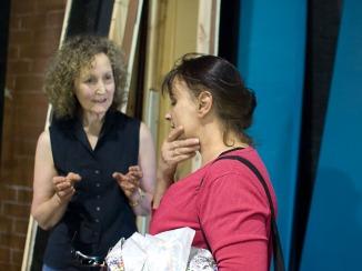 Karen & Di ponder the fabric of the play.